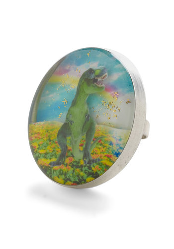 Dino What You're Thinking Ring by Locketship - Multi, Statement, Quirky