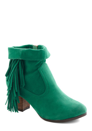 Moss and Fern Boot - Green, Solid, Fringed, Faux Leather, Mid