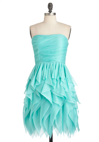 Rocking Robin's Egg Dress - Solid, Ruffles, Prom, Party, Strapless, Ruching, Blue, Sheath / Shift, Mid-length