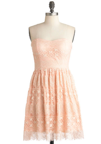 Savoir-Faire Well Dress - Pink, Lace, Party, Strapless, Summer, Mid-length, Solid, Shift