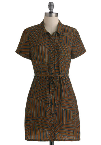 She's So Levee Tunic - Long, Blue, White, Print, Buttons, Casual, Short Sleeves, Brown, Button Down, Collared