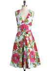 Poppy Culture Dress - Long, Multi, Green, Blue, Pink, Floral, A-line, Sleeveless, Summer, Belted, Vintage Inspired, Daytime Party, Cotton, Fit & Flare, V Neck, Beach/Resort, Graduation
