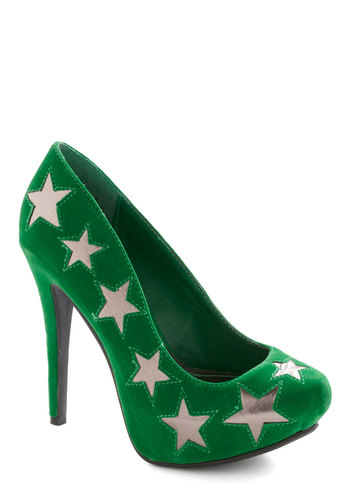 Never Too Emerald Heel - Green, Silver, Print, Party, Urban, Statement, Girls Night Out, Holiday Party, Faux Leather, Platform, High