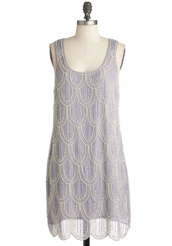 Be Still My Beading Heart Dress - Blue, Beads, Scallops, Party, Sheath / Shift, Sleeveless, Solid, Pearls, Vintage Inspired, 20s, Mid-length