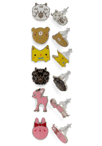 Creature Self Well Earring Set by Crowded Teeth - Casual, Kawaii, Yellow, Pink, Black, White