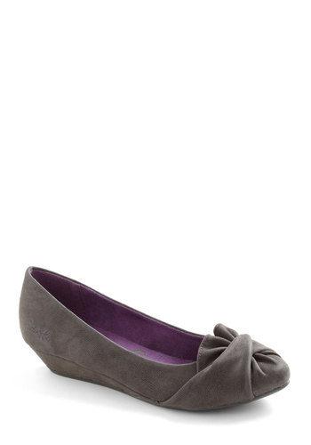 Gathering Together Wedge - Grey, Ruffles, Wedge, Faux Leather, Low
