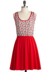 Ribbons and Outs Dress - Red, Black, Floral, Casual, A-line, Tank top (2 thick straps), Mid-length, Cutout, Summer, Tan / Cream, Scoop