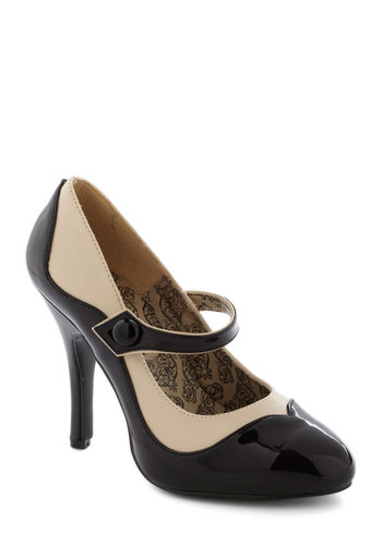 That's How I Stroll Heel by Pinup Couture - Black, Tan / Cream, Pinup, Vintage Inspired, Party, Cocktail, Holiday Party, Mary Jane, High, Formal