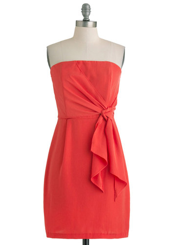 It's a Tie Dress - Orange, Solid, Sheath / Shift, Strapless, Mid-length, Cocktail, Coral