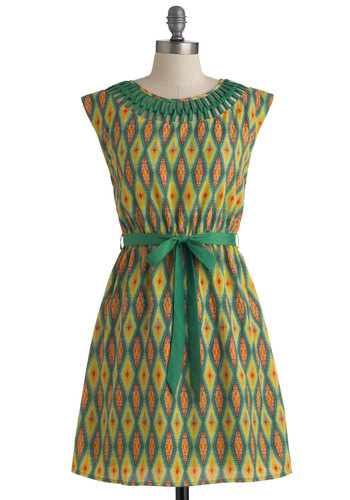 Trek Support Dress - Mid-length, Multi, Orange, Yellow, Green, Print, Cutout, A-line, Cap Sleeves, Belted