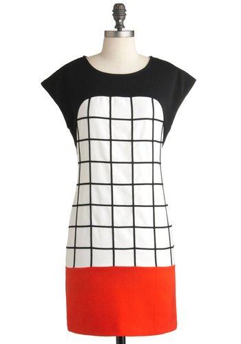 Graph It Up Dress - Mid-length, Red, Black, White, Shift, Cap Sleeves, Vintage Inspired, Scholastic/Collegiate, Colorblocking, Mod, Tis the Season Sale
