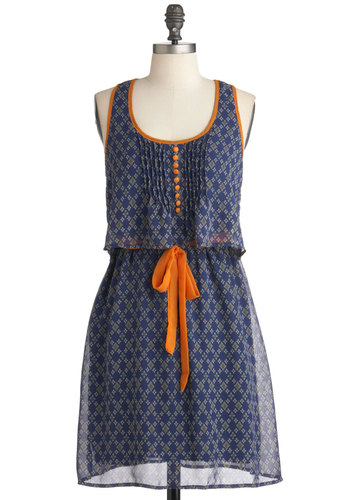 Curry Home Dress - Short, Blue, Orange, Print, Buttons, Casual, A-line, Tank top (2 thick straps), Summer, White, Belted