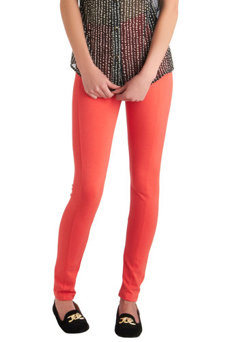 On-the-Go Glam Leggings in Coral - Orange, Black, Casual, Vintage Inspired, 90s, Long, Coral