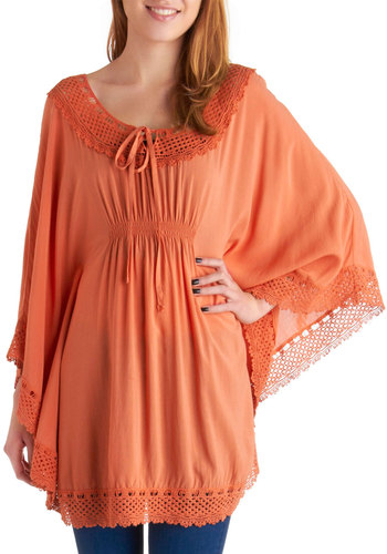 Lace Get Lunch Tunic in Carrot - Long, Orange, Solid, Casual, Boho, Lace, Crochet, Empire, 3/4 Sleeve