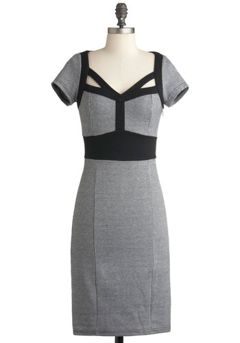 Jazz Club Dress - Long, Grey, Cutout, Work, Shift, Short Sleeves, Fall, Black, Houndstooth, Film Noir, Vintage Inspired, 60s