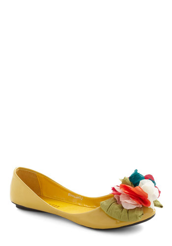 Mallory Square Flat - Yellow, Multi, Solid, Bows, Flower, Flat