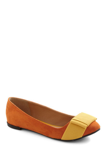 Sipping Citrus Flat - Orange, Yellow, Bows, Casual, 80s, Faux Leather, Flat