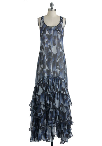 Flight for Your Right Dress in Maxi by BB Dakota - Long, Multi, Blue, Black, Grey, Print, Ruffles, Party, Maxi, Racerback, Summer, Statement, Boho, Steampunk, Sheer, Scoop