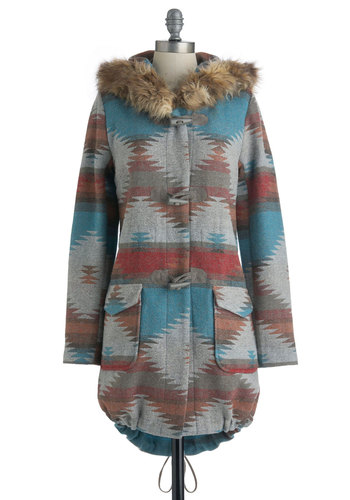 Tularosa Coat in Dusk by BB Dakota - Multi, Red, Orange, Blue, Grey, Pockets, Casual, Long Sleeve, Print, Sack, Fall, Long, 3, Rustic, Tis the Season Sale