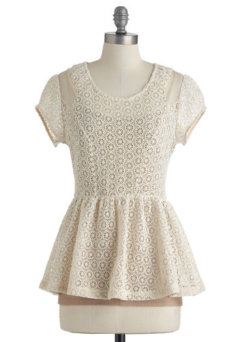 Gossamer and Gardenia Top - Cream, Tan / Cream, Lace, Short Sleeves, Peplum, Mid-length, Sheer