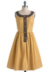 Golden Merry Mary Dress - Long, Yellow, Brown, White, Print, Buttons, Party, Vintage Inspired, A-line, Sleeveless