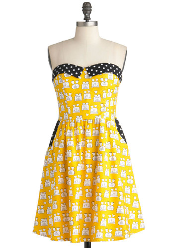 A Toast to Julie Dress - Yellow, Black, White, Polka Dots, Novelty Print, Pockets, Party, A-line, Strapless, Statement, Mid-length, Cotton, Fit & Flare, Sweetheart, Press Placement