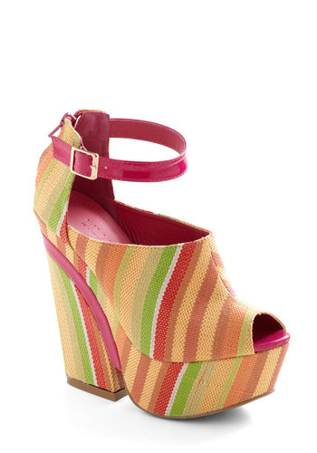 Stylish Response Heel - Multi, Stripes, Party, 60s, Yellow, Green, Pink, Spring, Platform, Peep Toe, High, Tis the Season Sale