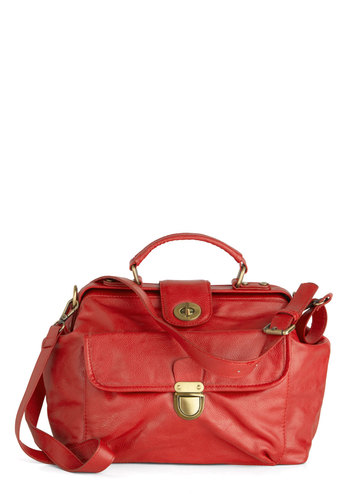 A Rusted Envelopment Bag - Red, Buckles, Faux Leather