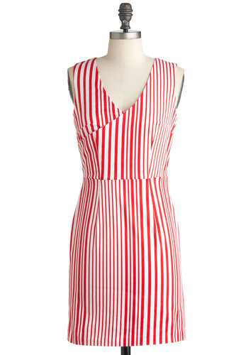 Candy is Dandy Dress - Red, White, Stripes, Cutout, Casual, Shift, Sleeveless, Summer, Nautical, Short