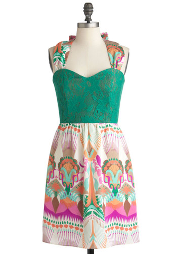 Conservatory Fete Dress - Mid-length, Multi, Green, Print, Party, Sheath / Shift, Halter, Sweetheart, Tis the Season Sale