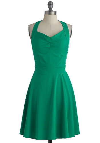 Thyme of Your Life Dress - Green, Solid, A-line, Halter, Long, Casual, Summer, Jersey, Fit & Flare