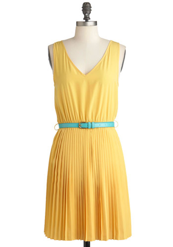 Bright Here Bright Now Dress - Yellow, Mid-length, Solid, Pleats, Casual, Sheath / Shift, Sleeveless, Spring, Belted, V Neck