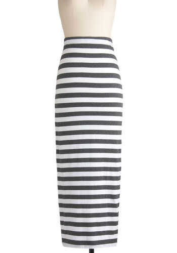 Rockin' and A-reelin' Skirt in Grey and White - White, Stripes, Casual, Maxi, Grey, Long