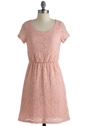 Anybody's Guest Dress - Pink, Lace, Casual, Short Sleeves, Spring, Short, A-line, Solid, Pastel