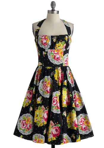 Yours Always Dress in Bouquet by Bernie Dexter - Long, Black, Multi, Polka Dots, Floral, Pockets, Party, Vintage Inspired, 50s, A-line, Halter, Cotton, Daytime Party, Fit & Flare, Tis the Season Sale