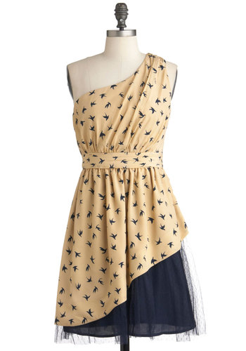 Wing of Beauty Dress - Mid-length, Blue, Tan / Cream, Print with Animals, Tiered, One Shoulder