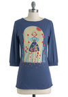 A Bit Dutch Top - Blue, Red, Yellow, Casual, 3/4 Sleeve, Mid-length, Cotton