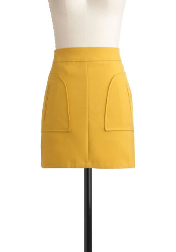 Sun Plus Fun Skirt - Yellow, Solid, Pockets, Casual, Short
