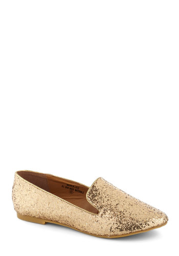 Gold Rush Hour Flats - Gold, Flat, Glitter, Casual, Statement
