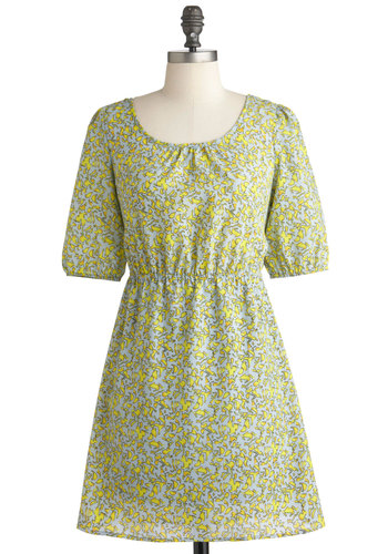 Dappled in Daylight Dress - Short, Yellow, Blue, Print, Cutout, Casual, A-line, Short Sleeves, Tis the Season Sale