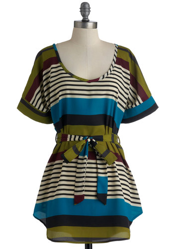 Medium Format Memory Tunic in Aqua - Stripes, Casual, Short Sleeves, Long, Multi, Multi, Belted, Variation, Scoop