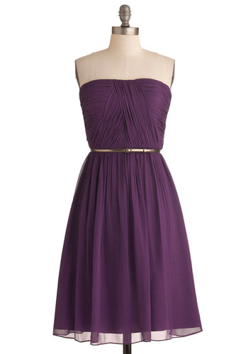 Time of My Life Dress in Mulberry - Purple, Solid, Wedding, A-line, Strapless, Belted, Ruching, Long, Prom, Cocktail, Bridesmaid