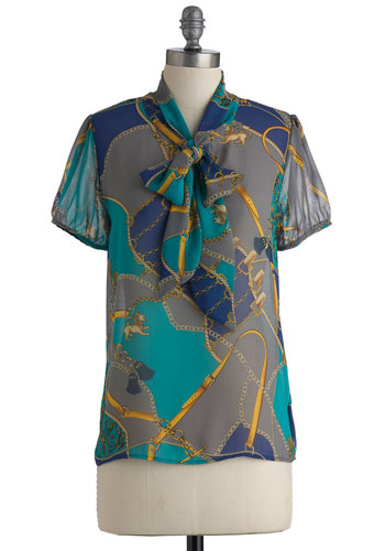 Estate of Well-Being Top - Mid-length, Multi, Blue, Grey, Short Sleeves, Tie Neck, Yellow, Green, Novelty Print, Casual, Sheer