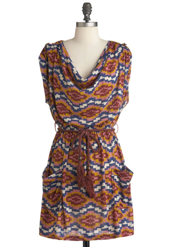 Lady Doth Southwest Dress - Short, Multi, Yellow, Blue, Pink, White, Print, Pockets, Casual, A-line, Sleeveless, Belted, Summer, Cowl