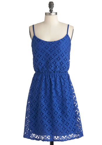 How Blueberry Kind Dress - Mid-length, Blue, Casual, A-line, Spaghetti Straps, Summer, Solid, Lace