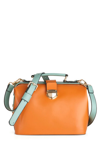 Bright Lights Big Citrus Bag - Green, Buckles, Tan, Travel, Faux Leather