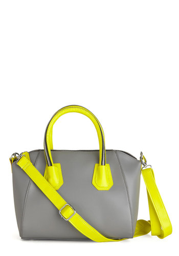 Neon Me Bag - Grey, Neon, Faux Leather