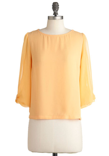 Write on Time Top - Orange, Solid, Bows, Exposed zipper, Short, Work, 3/4 Sleeve, Pastel, Sheer