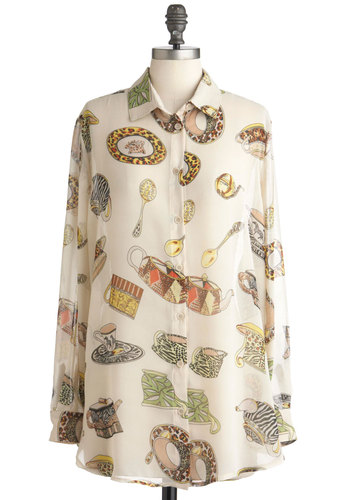 Tea Time and Again Top - White, Multi, Buttons, Long Sleeve, Long, Multi, Casual, Sheer, Button Down, Collared, Print