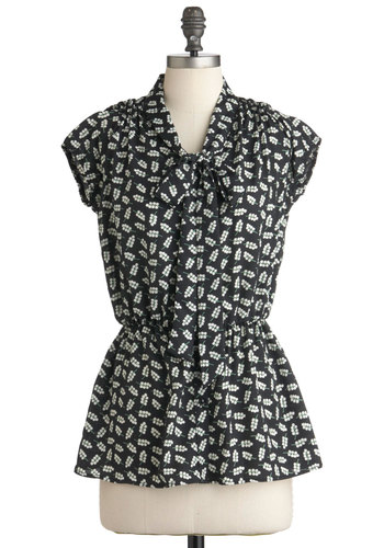 Business Pitch Perfect Top - Green, White, Short Sleeves, Tie Neck, Black, Floral, Work, Mid-length